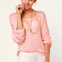 Valley of the Dolman Sheer Light Pink Sweater
