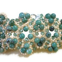 African Jade and Crystal Bracelet