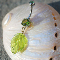 Translucent Green Leaf Dangle Belly Ring