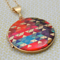 "Vintage Locket Necklace Alyson Fox Original Artwork ""Color Study II"""