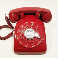 WORKING-  Red Rotary Phone Telephone 1956