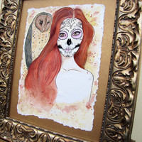 Day of the Dead Art - Original Painting - Owl Evening - Gold - Pale Yellow - Ornate - Watercolor - Dia de los Muertos