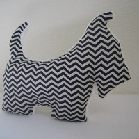 Plush Scottish dog Navy blue and white Chevron with soft minky fleece- Stuffed animal Minky Baby Toy