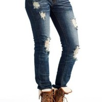 Amazon.com: two tone stitch destroyed jeans 11 DARK: Clothing