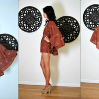 Upcycled Brown & Gold Floral Bohemian Low Back Caftan Top S/M