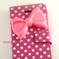 Iphone 5 Case, bow iphone 5 case, white dot pink pu leather iPhone 5 Case, case for iphone 5