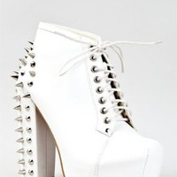 Vintage FRANCHESKA-03 Lita Spike Chunky High Heel Platform Lace Up Ankle Boot Booty
