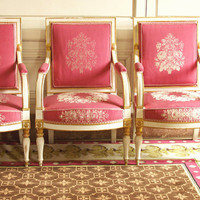 Marie Antoinette Chairs, Versailles - 8x10 Art Photography, Pink Damask - Furniture Art, Gold, Paris, France - French, White Walls, Feminine