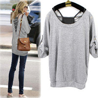 Women Celebrity Style Gray Cross Backless Sexy Loose Two-piece T shirt Tank Top