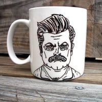SALE Ron Swanson Manly Man Tribute Coffee Mug / Manly Parks and Recs Hand Painted Coffee MMMug