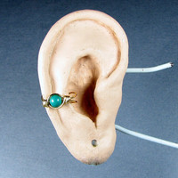 Ear Cuff 14k Gold Filled Turquoise Dyed Howlite