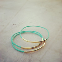 Mint Leather Bangle Bracelets with gold tubes (3)