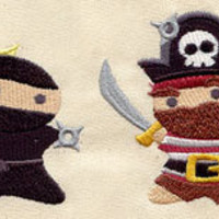 Ninja vs Pirate embroidered baby bib by MorningTempest on Etsy