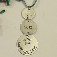 HAPPY HOLIDAYS Ornament - Personalized Christmas Gift Tag - Personalized Ornament - Snowman style 1