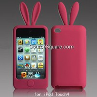 Hot Pink Cute Rabbit iPod Touch 4G Silicone Skin + Screen Film - SourceSquare.com