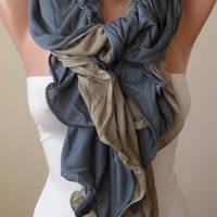 Christmas Gift - Trendy - Ruffle Scarf -  Gray and Light Brown - Combed Cotton Scarf
