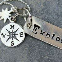 Graduation Gift, Poetry, Custom  Explore Inspirational Necklace - Compass Pendant, Explore, Graduation Explore Pendant,  Compass
