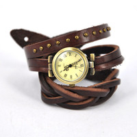 Dark Brown Leather Band Watch by Julyjoy