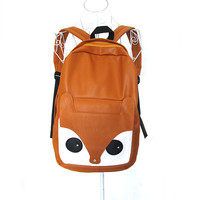 Lady Pu Leather Cute Fox Backpack School Student Bags Bookbags Travel