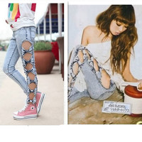 Vintage Woman Side Bow Cutout Ripped Denim Jeans