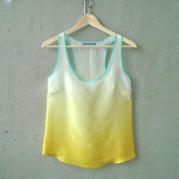 Yellow Ombré Blouse - contrast seafoam green trim, hand dye-painted and hand sewn