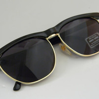 Vintage Deadstock Rimless CLUBMASTER Sunglasses BLACK with gold trim