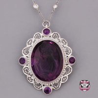 Necklaces - Vintage Filigree Amethyst Necklace