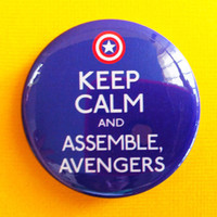 "Keep Calm & Assemble, Avengers (Captain America) - 1.75"" Badge / Button"