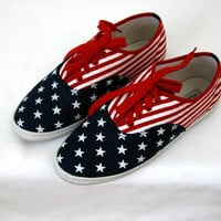 Vintage 90s American Flag Canvas Sneakers Keds Style US Women&#x27;s Size 8.5 8 1/2