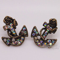 Anchor - Sailor and anchor with shinning gems earrings