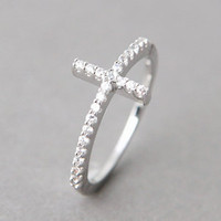 CZ STERLING SILVER SIDEWAYS CROSS RING WHITE GOLD SIDEWAY CROSS RING by Kellinsilver.com - Sterling Silver Jewelry Online as ETSY