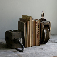 rustic pulley bookends set of two