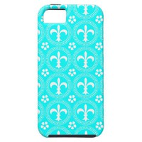 Aqua Turquoise And White Fleur De Lis Pattern iPhone 5 Case