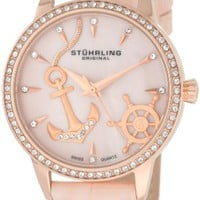 Stuhrling Original Women&#x27;s 520.1145A9 Vogue Audrey Verona Del Mar Swiss Quartz Mother-Of-Pearl Swarovski Crystal Pink Watch