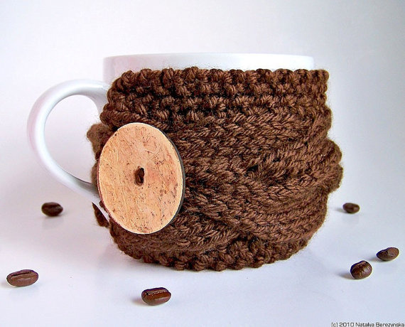 Brown Mug Cozy Cup Sleeve Chocolate Coffee Tea by natalya1905