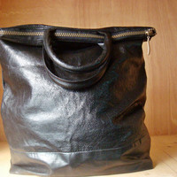 Black Leather Tote Bag Recycled Repurposed Medium