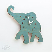 The &quot;Baby Turquoise / Teal Elephant&quot; designer wall mounted clock from LeLuni