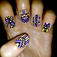 Vibrant Aztec/Tribal Fake Nails