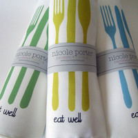 Eat Well Napkins Choose Your Colors - Set of FOUR