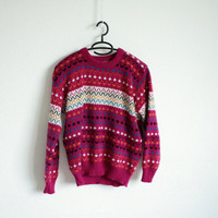 Colorful hipster sweater. 80's/90's era. Size S/M.
