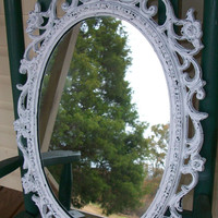 Vintage Ornate Shabby Chic Chippy White Wall Mirror