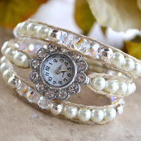 Swarovski Crystal And Pearl Wrap Watch