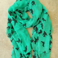 Sparrows in Flight Verte Scarf [9991] - $16.00 : Vintage Inspired Clothing &amp; Affordable Fall Frocks, deloom | Modern. Vintage. Crafted.