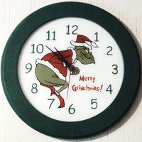 Handmade Christmas &quot;Grinch&quot; Clock