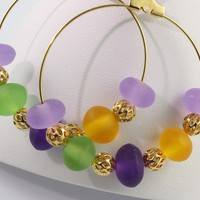 Purple Green Neon Earrings Gold Mardi Gras by abacusbeadcreations
