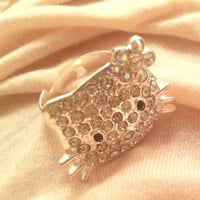 HELLO KITTY RHINESTONE GEMSTONE RING