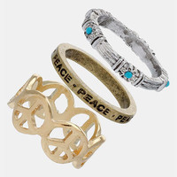 Topshop 'Peace' Stackable Rings (Set of 3) | Nordstrom