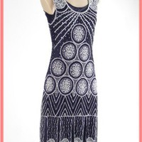 1920s Flapper Dresses-20's Style Silver Beaded Black Flapper Dress