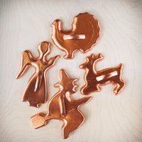 Vintage Cookie Cutters Holiday Aluminum Copper, Four Piece Set