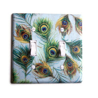 Peacock Feathers Double Toggle Switchplate